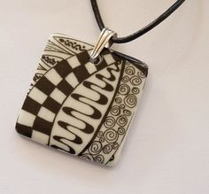 Porcelain pendant, reversible, black & white, ceramic, zentangle, leather thong necklace