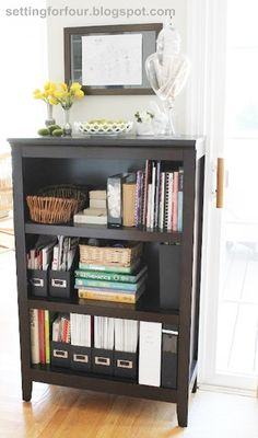 Bookcase Family Command Center -settingforfour.blogspot.com #organization