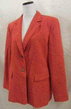 Talbots sz 16 Blazer Jacket Spice Tweed Wool Cashmere Tweed Suit Career Crest #Talbots #Blazer