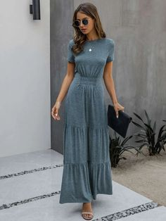 Ruched Front Ruffle Hem Maxi A-line Dress | SHEIN USA Maxi Dress With Sleeves, Short Sleeve Dresses, Sleeved Dress, Casual Dresses, Prom Dresses, Neck Design, Grey Shorts, Elegant, Gray