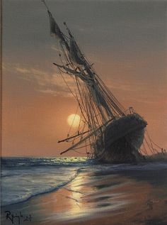 Polish painter Marek Rużyk ( born in 1965 ), creates beautiful seascapes and marine art in the grand tradition of the Romantic era. Beautiful Landscape Paintings, Seascape Paintings, Science Fiction, Sailing Ships, Surfing, Pictures, Outdoor, Image, Watercolors