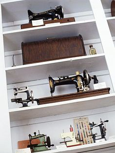 vintage sewing machines.  Someday I will have enough that my sewing STUDIO will have this display.
