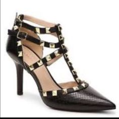 Brand New Bcbg Black / Silver Divaa Studded Heels