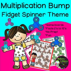 Multiplication Bump Games 2's to 12's with Fidget Spinner Theme! Your students will LOVE practicing those multiplication facts with these fun, colorful Fidget Spinner  themed multiplication BUMP games! I've included the direction sheet, too!