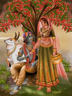 Lord Krishna Images, Radha Krishna Pictures, Radha Krishna Photo, Krishna Art, Radhe Krishna, Indian Women Painting, Indian Art Paintings, Fantasy Paintings, Krishna Painting