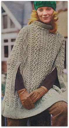 Vintage pdf Knitting Pattern for Irish Cape / Poncho in Aran