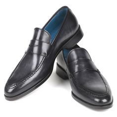 Paul Parkman Men's Dark Gray Hand-Painted Penny Loafers    Website: www.paulparkman.com  #paulparkman #paulparkmanshoes #loafers  #goodyearwelted #mensshoes #handmadeshoes #handcrafted #bespokeshoes #luxuryshoes #designershoes