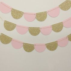 Party Scalloped Garland or Bunting Light Pink Blush and Gold Glitter 7 Feet