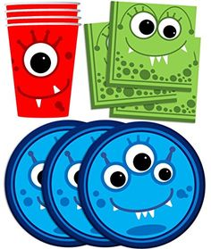 Mighty Monster Birthday Party Supplies Set Plates Napkins Cups Tableware Kit for 16 *** More info could be found at the image url.