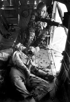 LIFE magazine, 1965. Photographer Larry Burrows accompanied helicopter flight Yankee Papa 13, witnessing the aftereffects of a co-pilot of the helo Yankee Papa 3, 1st Lt. James Magel, being rescued by and dying in the helicopter. Burrows himself died in February 1971 in a helicopter crash.
