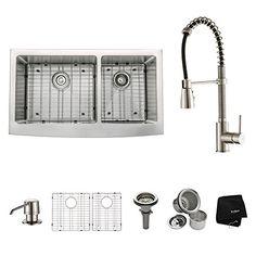 "Kraus KHF203-36-KPF1612-KSD30SS 36"" Farmhouse Double Bowl Stainless Steel Kitchen Sink with Stainless Steel Finish Kitchen Faucet and Soap Dispenser Kraus http://smile.amazon.com/dp/B00K2QOEWW/ref=cm_sw_r_pi_dp_D8PTvb0JTSJXR"