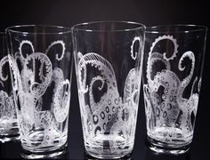 Octopus Tentacles Drinking Glass Glassware Set Kraken Etched Engraved Glass Set of 4 Kraken, Octopus Decor, Octopus Art, Octopus Tentacles, Glass Engraving, Drinking Glass, Glass Etching, Etched Glass, Glass Art
