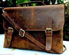 """Amazon.com: Handolederco 16"""" Vintage Rustic Buffalo Hide Leather Messenger Satchel Laptop Briefcase Shoulder Bag for Men's and Women: Computers & Accessories"""