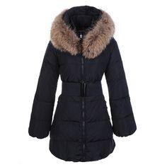 Women Moncler Black Fashion Fur Trim Belt Long Parka