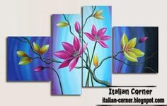 Like the split canvas painting idea- more on the site.  Ideablue flower abstract oil painting on Italian canvas wall art paintings