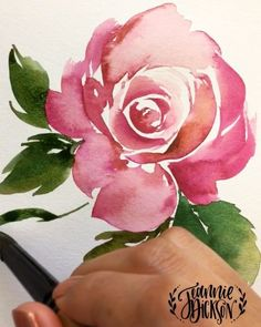 """3,857 Likes, 91 Comments - Jeannie Dickson (@honeybopsdesigns) on Instagram: """"Painting a #vintage looking #watercolor #rose with a triangular brush. Custom color by mixing Red…"""""""
