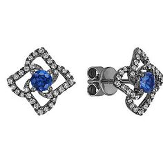 Round Sapphire and Diamond Floral Earrings with Black Rhodium #ShaneCoLBD