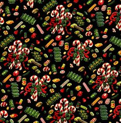 1950s Christmas Wrapping Paper - Christmas Candy Design.  Use the large size to print out your own gift wrap! Vintage Christmas Wrapping Paper, Vintage Christmas Images, Vintage Paper, Vintage Cards, Vintage Postcards, Merry Christmas, Christmas Candy, 1950s Christmas, Christmas Berries