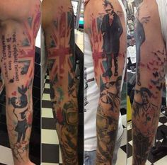 This tat with the works of Banksy is a seriously cool tri-color tribute.