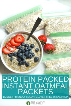 Homemade Instant Oatmeal Packets (Protein-Packed) are a budget-friendly quick & easy way to have a healthy breakfast every morning. Only 5 ingredients and youll have protein oatmeal all week long. Dairy Free Breakfasts, Gluten Free Recipes For Breakfast, Dairy Free Recipes, Healthy Breakfasts, Healthy Recipes, Recipes Dinner, Clean Eating Breakfast, Quick Healthy Breakfast, Breakfast For Kids