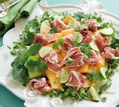 Melon Platter with Mint and Prosciutto - Annabel Langbein – Recipes Mint Recipes, Gourmet Recipes, Salad Recipes, Cooking Recipes, Healthy Recipes, Easy Recipes, Appetiser Recipes, Antipasto, Prosciutto Recipes