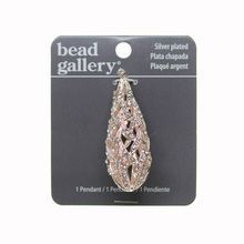 Bead Gallery® Silver Plated Rose Drop Metal Pendant