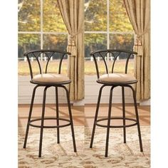 Amazon.com: Bronze Finish Adjustable Metal Swivel Counter Height Bar Stools (Set of 2): Home & Kitchen