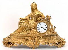 Pendule, Frankreich um 1850, Bronze, vergoldet, frontseitig plastische, floraleVerzierungen in Form