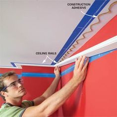 How to Install Crown Molding This three-piece crown molding technique simplifies installation and the results are spectacular. Crown Molding Installation, Foam Crown Molding, Molding Ceiling, Trim Carpentry, Moldings And Trim, Faux Crown Moldings, Paint Your House, Diy Crown, Diy Home Repair