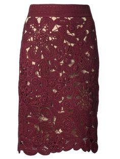 Bordeaux silk crochet skirt from Oscar De La Renta featuring a fitted waist, a side zip fastening, scalloped hem and a mid-length. £1,319.56 by farfetch