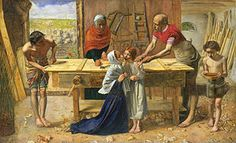 "Christ in the House of His Parents by John Everett Millais, 1850 - orig exhibited with the words:""And one shall say unto him, What are these wounds in thine hands? Then""""shall He answer. Those with which I was wounded in the house of my friends."""