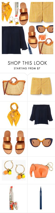 """Navy & Orange"" by stacey-lynne on Polyvore featuring Sam Edelman, Lacoste, Hermès, Kobi Halperin, Marni, J.Crew, Loewe, Teeez and Almay"