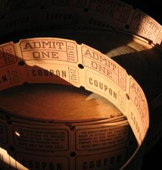 Vintage Admit One Tickets with Coupon Strip by SandrasCornerStore, $1.99