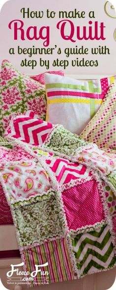 Learning how to make a rag quilt is easy! Rag quilts are a wonderful for a first time quilting project. They're simple to make! This rag quilt uses cuddle or minky fabric for extra warmth. The combination of flannel and cuddle is wonderful to touch. Quilting Tips, Quilting Tutorials, Quilting Projects, Sewing Tutorials, Sewing Patterns, Video Tutorials, Beginner Quilting, Machine Quilting, Knitting Patterns