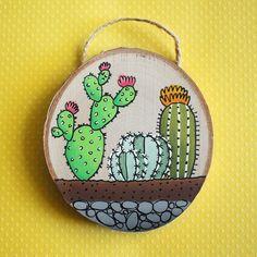 Mini Cactus Terrarium painting on wood Original hand painted cactus artwork Cactus Painting, Cactus Art, Cactus Flower, Painting On Wood, Painted Ornaments, Wooden Ornaments, Painted Rocks, Hand Painted, Wood Slice Crafts