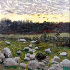 Akseli Gallen-Kallela (Finnish, Dusk, Oil on canvas, 42 x cm. Landscape Art, Landscape Paintings, Landscapes, New Artists, Great Artists, Scandinavian Paintings, Life Paint, Canadian Art, Vintage Artwork