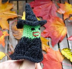 I found a little knit witch hiding among the leaves on my balcony this morning. Good thing, too, because I've put up zero Halloween decorations so far, so she'll be just perfect t… Halloween Decorations, Christmas Decorations, Christmas Ornaments, Knitting Patterns Free, Free Knitting, Halloween Knitting, Knit In The Round, Cute Crochet, Knitted Hats