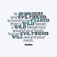 """An insincere and evil friend is more to be feared than a wild beast; a wild beast may wound your body, but an evil friend will wound your mind.""   —Buddha"