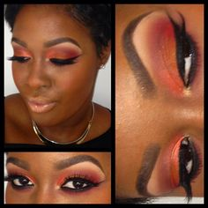 On the Eyes: Coppering (Inner lid), Orange and Amber Lights (Center),