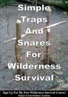 An article describing how to construct simple traps and snares for wilderness survival. An article describing how to construct simple traps and snares for wilderness survival. Survival Shelter, Wilderness Survival, Homestead Survival, Camping Survival, Outdoor Survival, Survival Prepping, Survival Skills, Emergency Preparedness, Outdoor Camping