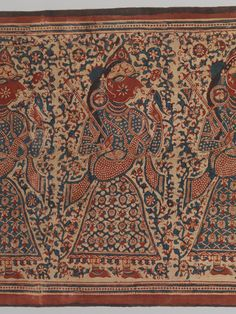 Detail from a painted textile depicting celestial muscians. Gujarat. 1500-1700  Black printed plain weave cottong. Mordant and resist dyed. Met Museum.   The maidens wear long sleeves and clothing is reminiscient of the Mughul period rather than earlier Jain art.