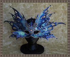 Masquerade MaskIridescent Blue/Silver Fairy His by ForestofAvalon