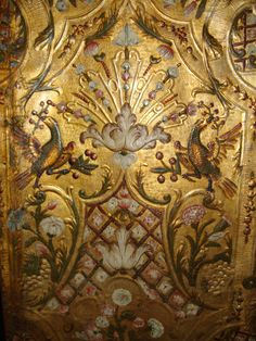 Gilt wall leather covering, embossed. On the manor Rosenholm, Denmark.