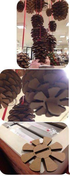 Handmade pine cones with cardboard #ideas #DIY #pinecones