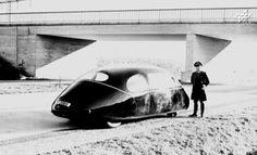 Dr. Karl Schlör 1939 Schlörwagen Pillbug ON GERMAN AUTOBAHN DURING WW2