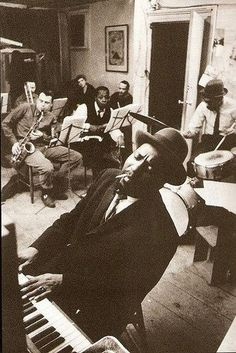 Thelonious Monk 1959 Rehearsing in a New York loft with saxophonists Phil Woods and Charlie Rouse.