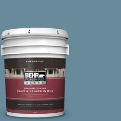 BEHR Premium Plus Ultra 5-gal. #bic-22 Relaxed Blue Flat Exterior Paint