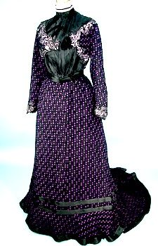 c. 1900-1902 Gibson Era Victorian Trained 2-piece Chenille and Silk Gown!  With Original Trained Black Slip!