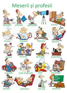 A cartoon chart showing different Professions and Jobs in English with some activities to help you learn vocabulary about them. English Time, English Fun, English Study, English Words, English Lessons, English Grammar, Teaching English, Learn English, English Language