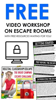Digital escape rooms in the classroom have never been cooler! Learn the benefits of escape rooms in the classroom and how to implement one with ease and confidence! This video training also includes a free digital escape room! Teaching Kindergarten, Digital Form, Escape Room, Teacher Pay Teachers, Workshop, Classroom, Student, Technology, Math